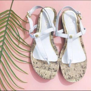 Ralph Lauren White Cork Thong Sandals Size 7